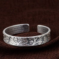 HFANCYW New Pure 990 Sterling Silver Retro Thai Silver Craft Buddhist Culture Heart Scripture Bracelet Women Open Peony Bangle