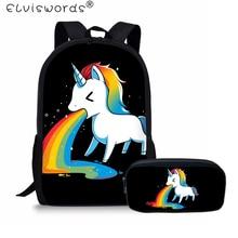 ELVISWORDS School Backpack for Boys Girls Primary Bags Kids Cartoon Unicorn Printing Children Rucksack Mochila
