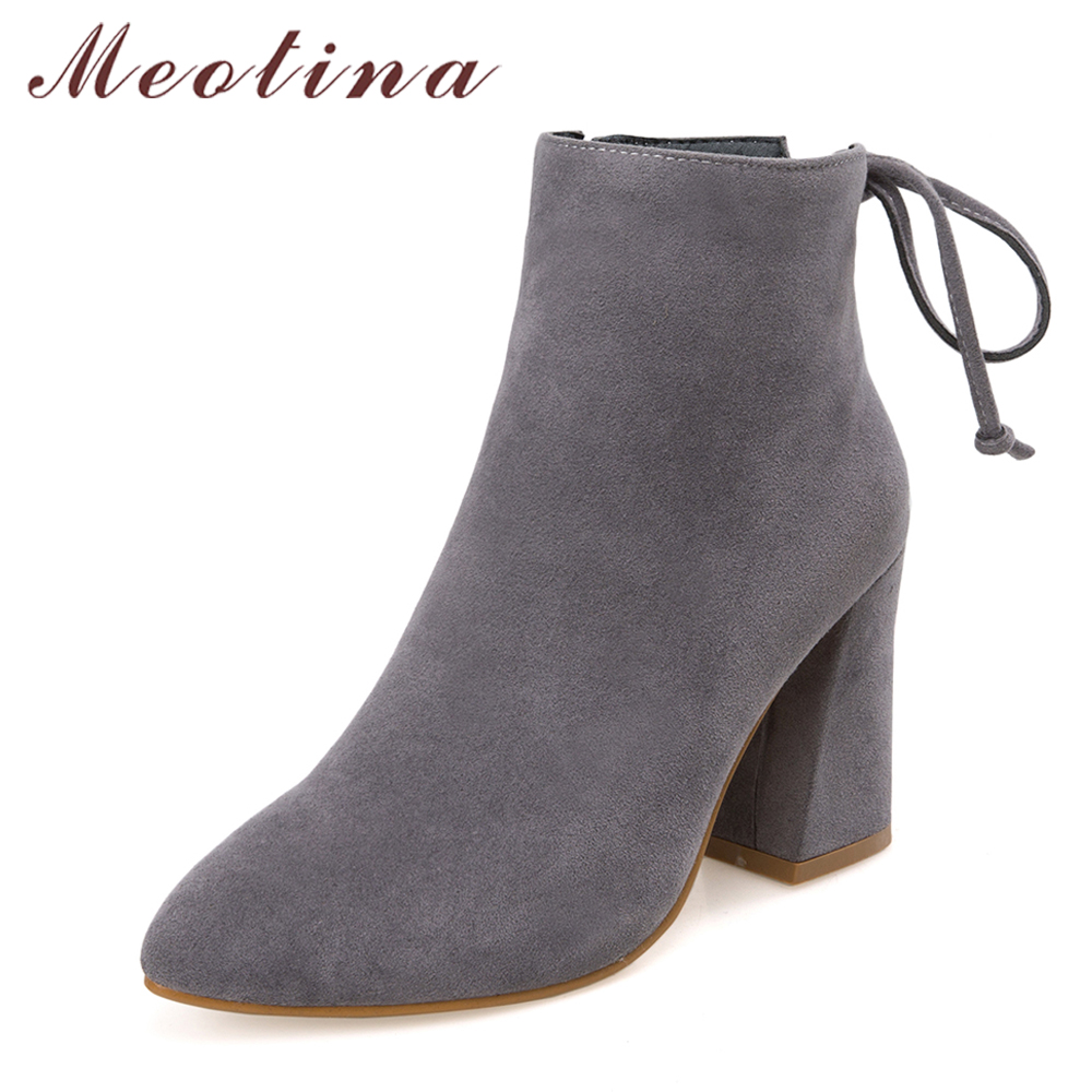 Meotina Women Short Boots High Heels Autumn Shoes Grey Zip Pointed Toe Thick Heels Ankle Boots Winter Warm 2018 Big Size 33-43 2016 women knee high boots leather winter boots pointed toe zip casual shoes women high heels big size 32 45 black boots woman