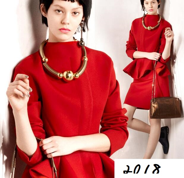 2015 Qiu Dong Qiu Dong New thick jacket Rome cloth red Europe and the United States and knitted fabrics