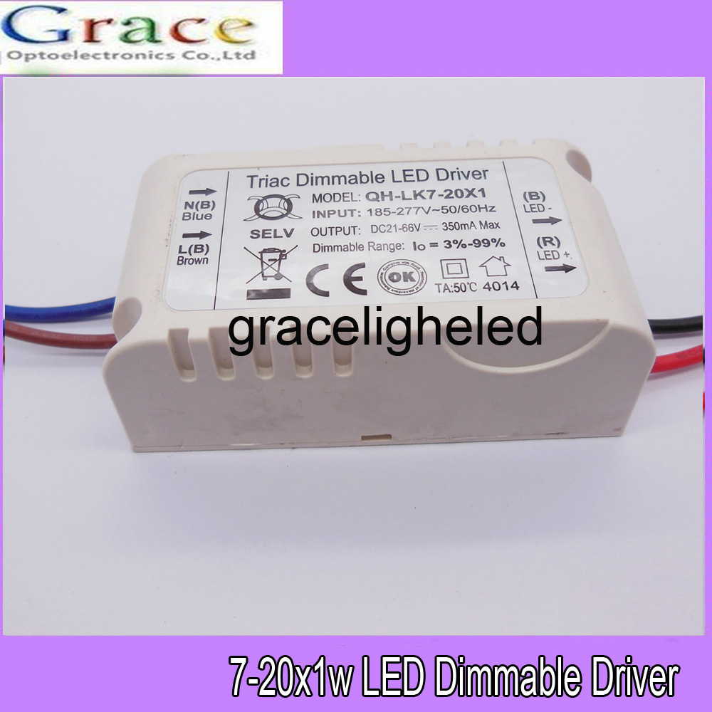 1pcs 7-20x1W 350mA Constant Current LED Dimmable Driver Power Supply AC185-277V