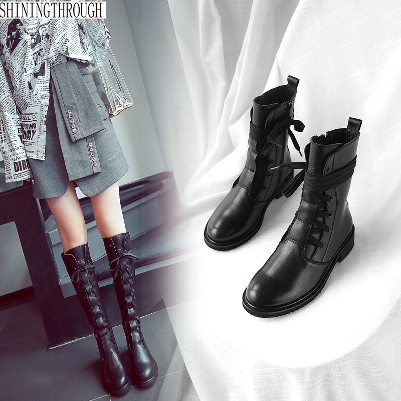 Women boots woman 3cm low heels ankle western boots ladies casual shoes woman lace up autumn winter boots large size 43
