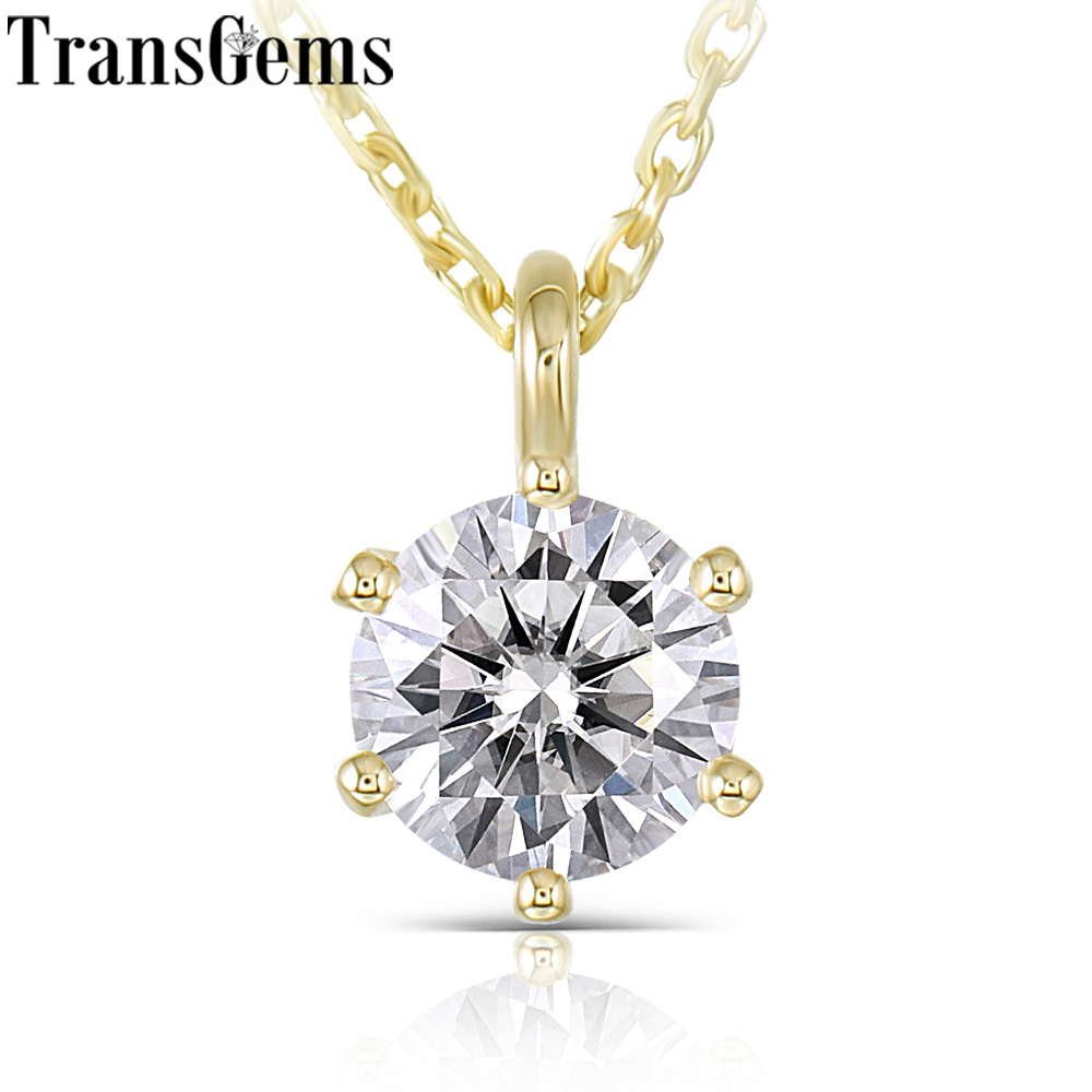 Transgems 14K Yellow Gold 585 6.5MM 1 Carat F Color Moissanite Round Brilliant Cutting Pendant Necklace For Women Wedding Gifts