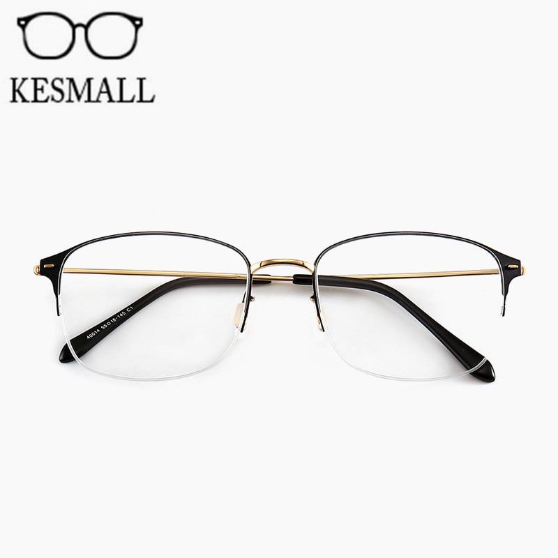 8f5f327ae9c Dropwow KESMALL Fashion Metal Glasses Frame Women Men Optical Eyeglasses  Frames Half Rim Big Size Myopia Reading Glasses Frame YJ1118