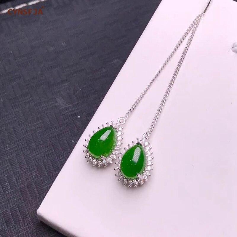 Certificado Natural Hetian Jasper Embutidos 925 Prata Esterlina Handmade Sorte Brincos de Jade Verde de Alta Qualidade Presentes Maravilhosos