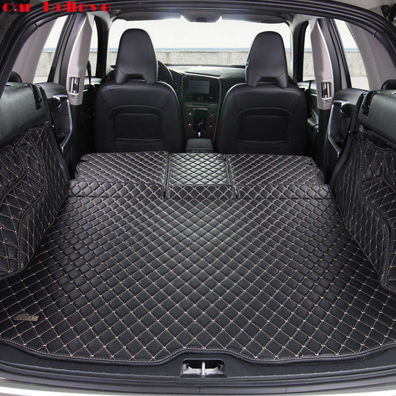 Car Believe Custom car trunk mat For Volvo xc60 S60 Cargo Liner Interior Accessories Carpet car styling Foot Trunk mat custom cargo liner car trunk mat carpet interior leather mats pad car styling for dodge journey jc fiat freemont 2009 2017