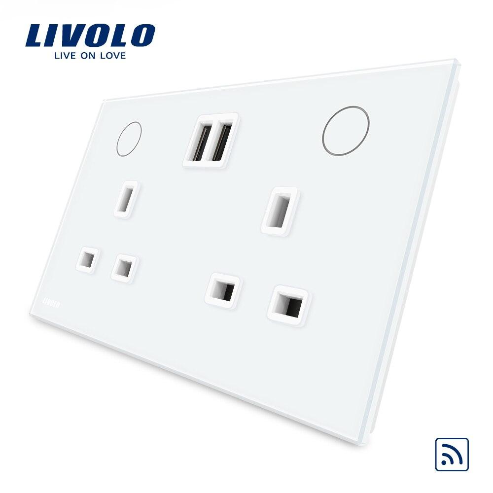 Livolo UK Standard Mur Prise D'alimentation (télécommande) + 2USB, Blanc Cristal écran en verre, 13A Prise Murale, w2C2UKRU-11/12 (non à distance)