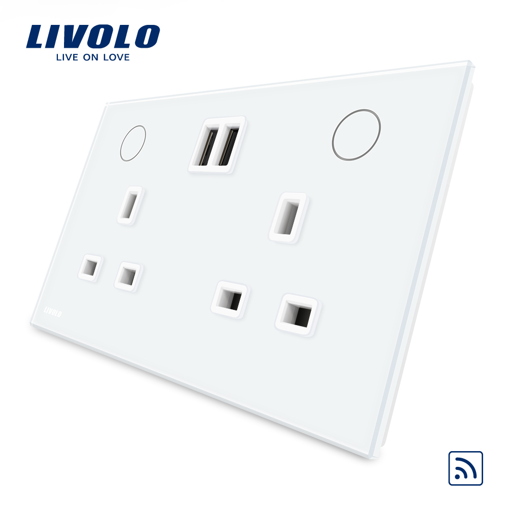 Livolo UK Standard Wall Power Socket(Remote Control)+2USB, White Crystal Glass Panel, 13A Wall Outlet, W2C2UKRU-11/12(no remote) uk socket wallpad crystal glass panel 110v 250v switched 13a uk british standard electrical wall socket power outlet uk with led