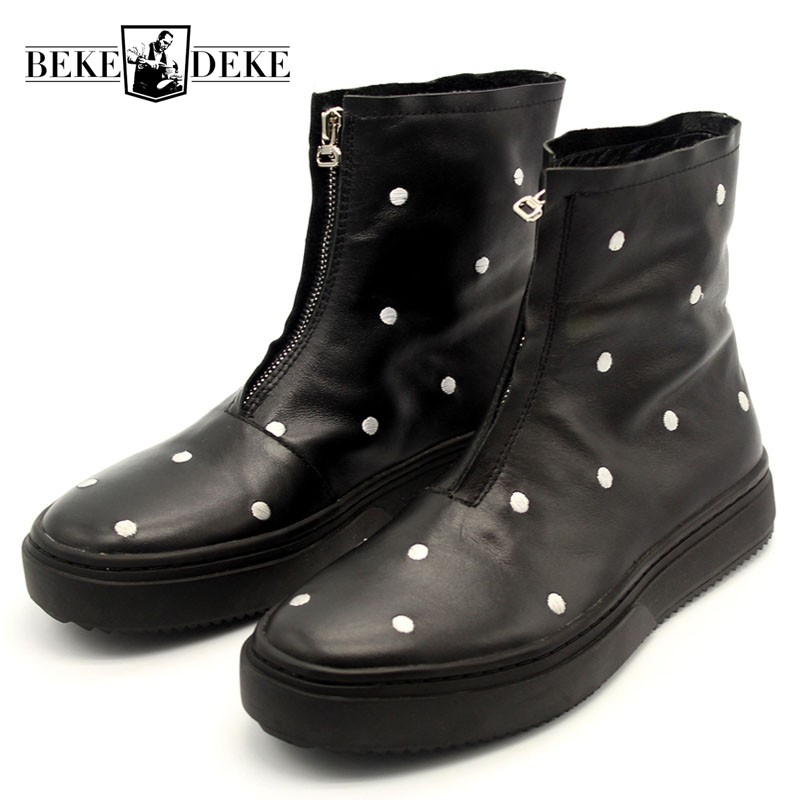 цены Winter Designer White Polka Dot Embroidery Runway Ankle Boots Men Zipper High Toe Punk Thick Platform Male Nature Leather Shoes