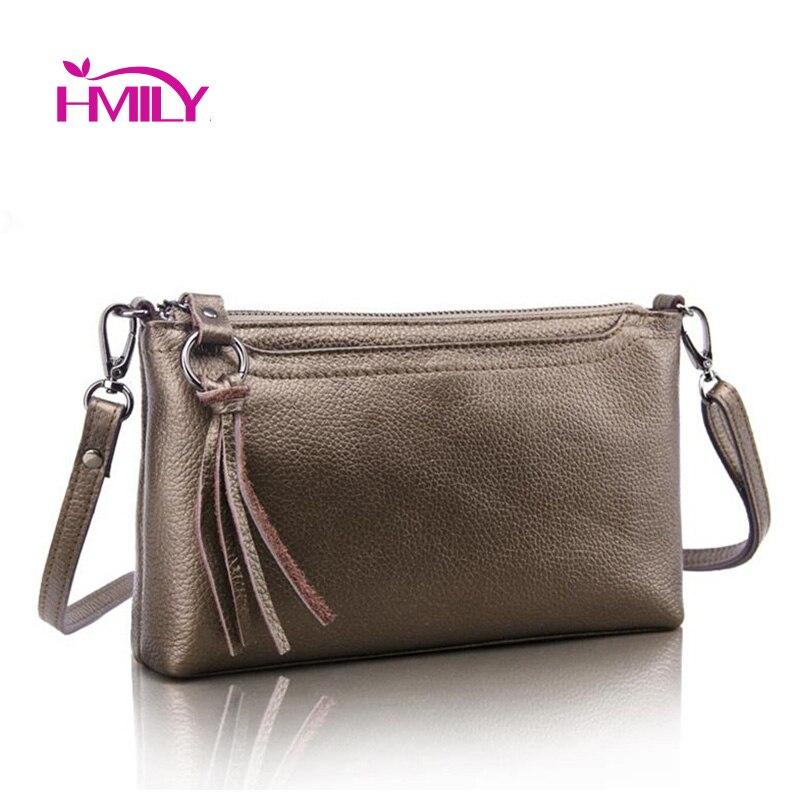HMILY First Layer Genuine Leather Women's Shoulder Bags Clutch Female Solid Color Designer Messenger Bag Ladies Cowhide Bag