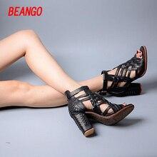BEANGO 2017 New Style Cross Strap High Heel Sandal Shoe Full Leather Thick Heel Rome Women Sandal Ankle Strap Sandal Shoe