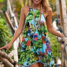 Summer Women Bohemia Dresses Stylish Floral Printing Tassel Dress Elegant Beach Party Dresses Spaghetti Strap Female