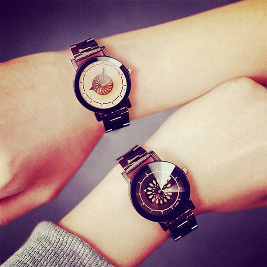 1caca2d9687 New Fashion Casual Couple Watches Men Women Quartz Wristwatch Stainless  Steel Lovers Watch Clocks Relogio Feminino Drop Shipping