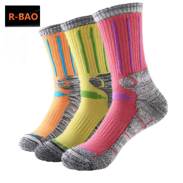 R-BAO 2 Pairs Cotton Outdoor Mountaineering Ski Socks Men Women Thicken Deodorant Antibacterial Sports Socks For Hiking M L