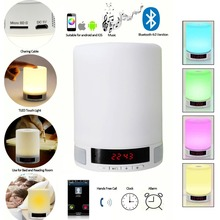 Bluetooth 4.0 Speaker with LED Table Lamp Night Light Alarm Clock TF Card Built-in Microphone Hands-Free Calls