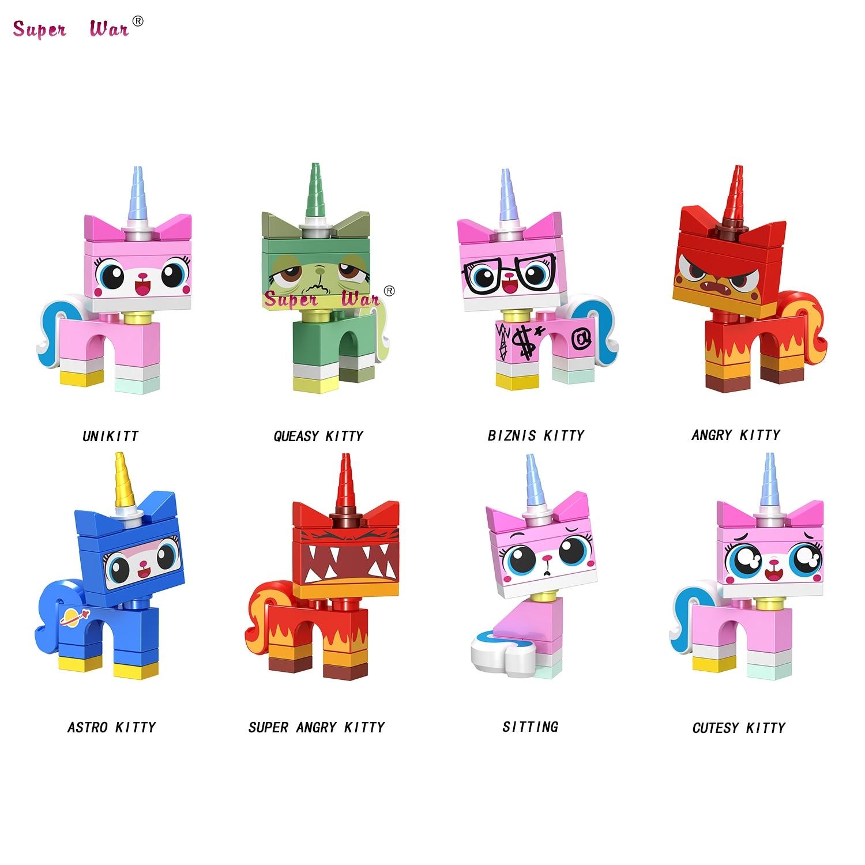 50pcs Building Blocks Cartoon Movie Bricks Unikitty Super Angry Astro Queasy Biznis Unicorn Kitty for kids