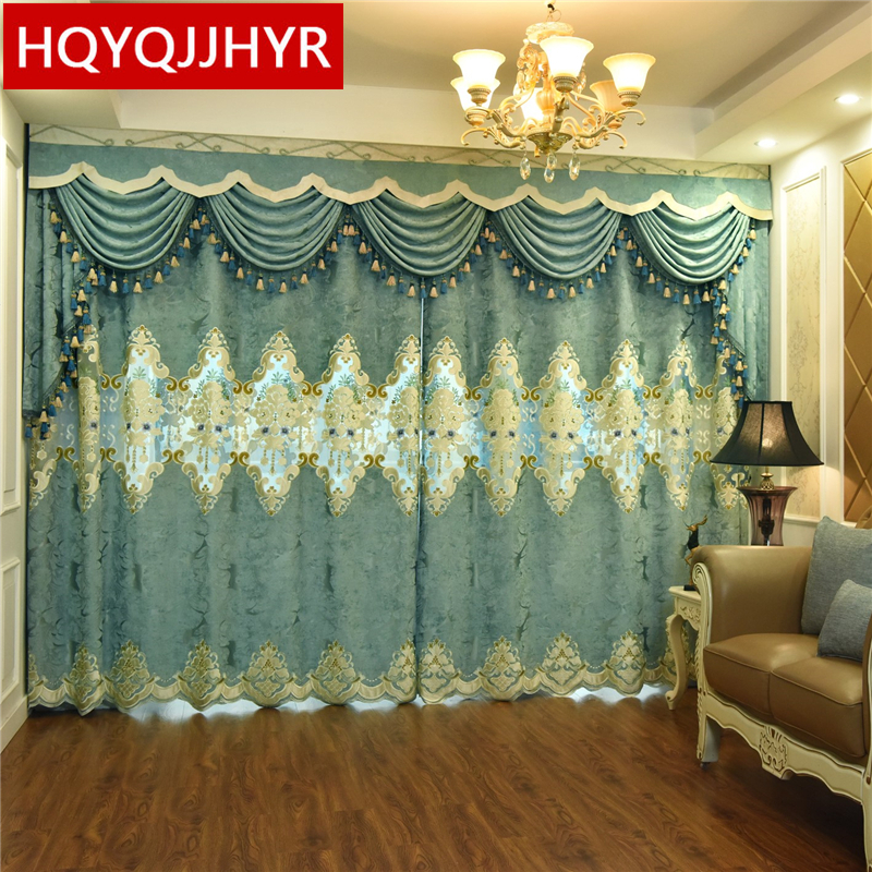 European High Quality Custom Embroidered Villa Curtains For Living Room Windows Classic Luxury Valance Curtain For Bedroom Hotel