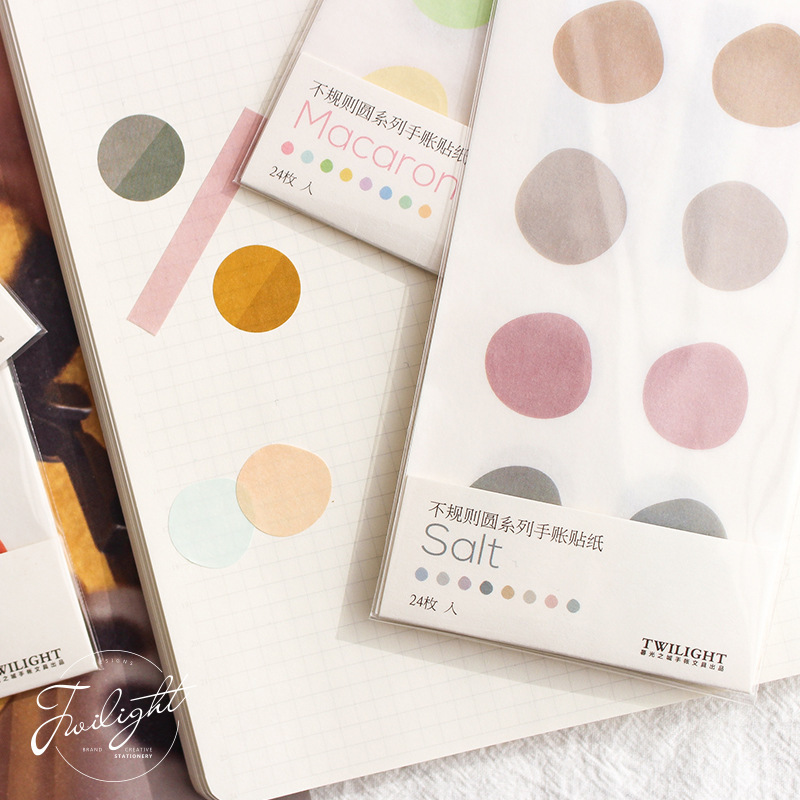 Irregular Round Macaron Color Stickers Paper Clear Decoration Creative Adhesive Sticker Kawaii School Supplies Bullet Journal