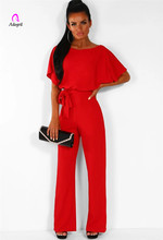 цена на Elegant Lady Highstreet Rolled Up Sleeve Knot Front Solid Jumpsuit Women Summer High Waist Casual Straight Jumpsuit Long Rompers