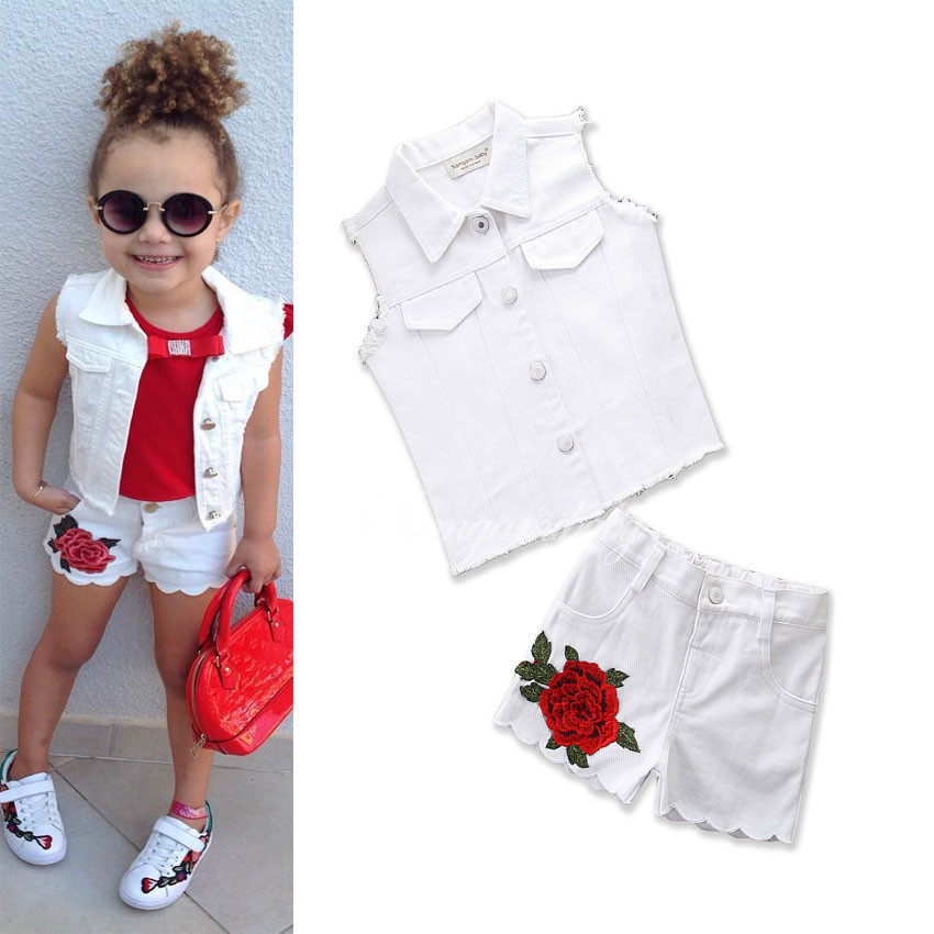 Summer Girls Clothes Childrens White Clothing Fashion Girl Vest Top+Flower Shorts Suits 2018 Valiant Kids Clothing 18M01Summer Girls Clothes Childrens White Clothing Fashion Girl Vest Top+Flower Shorts Suits 2018 Valiant Kids Clothing 18M01