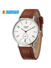 2019 SHUNSHIMEI leather gift Watches  dress Casual Quartz Watch Diamonds Hour gift Wrist Watch Male Clock2 color brown