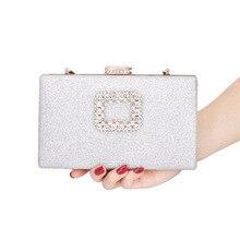 Rhinestone Women Wedding Bags Hard-Surface Chain Box Handbags Sliver Sequined Clutch Shoulder Bag Ladies Sac Main Femme