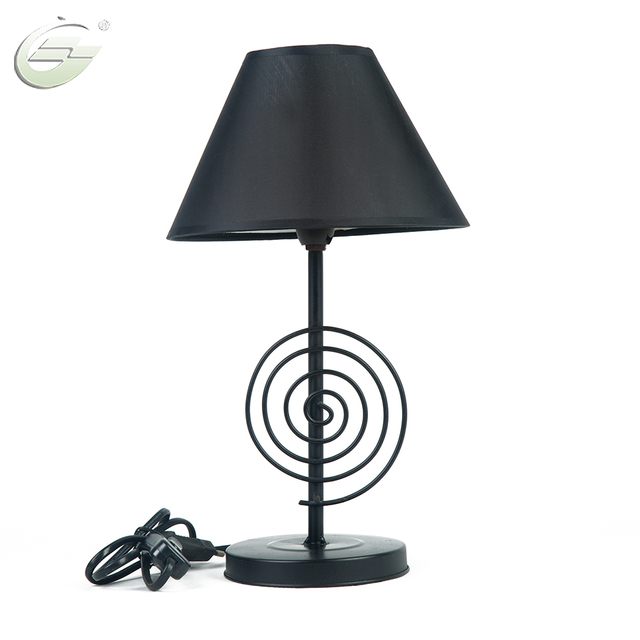 Noverlty Desk Lamp Circle Shape Iron Lamp Body Fabric Lampshade Lighting Fixture E14 Bulb Led Lamps Living Room Decor