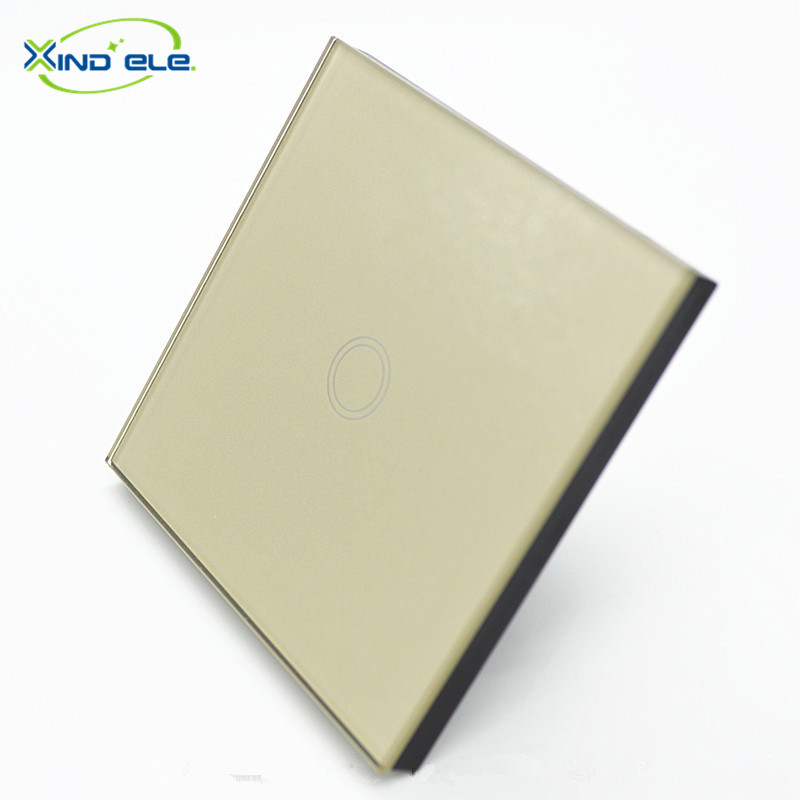 XIND ELE Tempered Glass Touch Switch , Gold Panel Switch , Wall Switch , EU standard Digital Touch Light Switch #XDTH01G# xind ele crystal glass panel smart home touch light wall switch with remote controller interruptor de luz xdth03b blr 8
