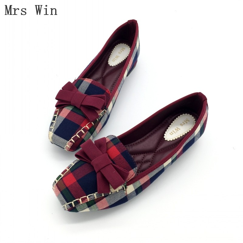 England Style Gingham Women Casual Loafers Spring Autumn Square Toe Bowtie Slip On Flats For Woman Ladies Single Shoes Plus Size vintage weave style spring autumn women casual loafers pointed toe slip on flats for woman ladies single shoes plus size gray