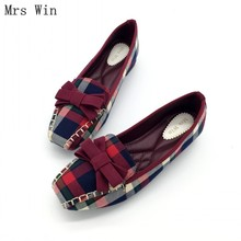 mrs win autumn women shoes square toe ballet flats females soft work driving slip on woman s flats ladies single shoes plus size England Style Gingham Women Casual Loafers Spring Autumn Square Toe Bowtie Slip On Flats For Woman Ladies Single Shoes Plus Size
