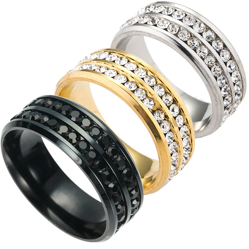 ADOMANER Black Rings Jewelry Wedding-Anillos Crystal Engagement Stainless-Steel Wholesale title=