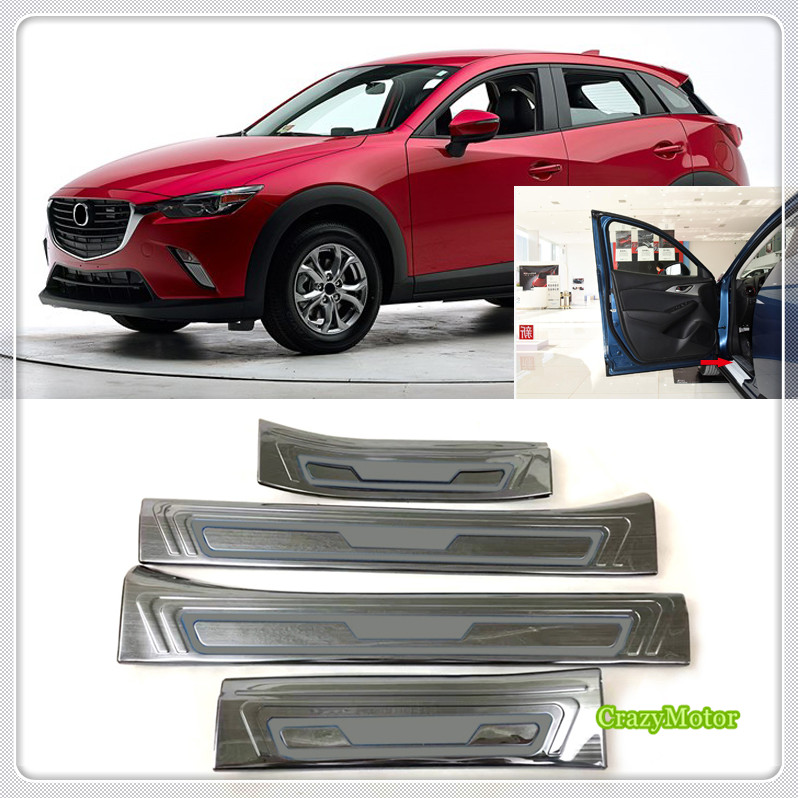 For Mazda CX-3 CX3 2015 2016 2017 2018 Car Styling Inner Steel Door Sill Scuff Plate Stickers Car Accessories Cover 4*