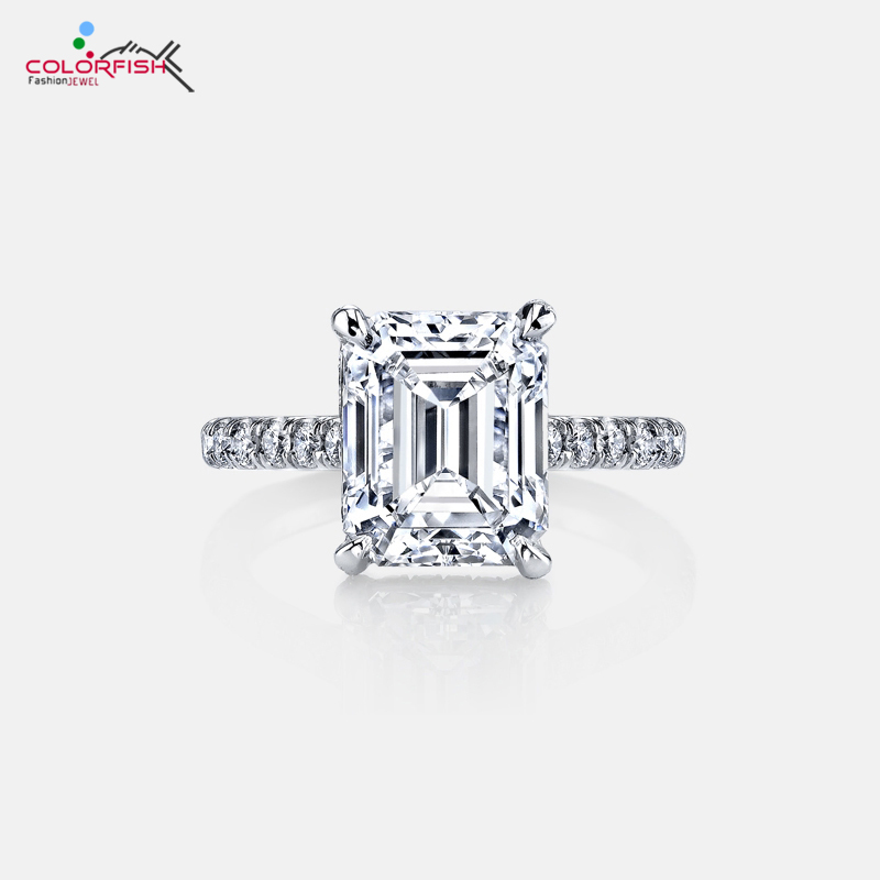 COLORFISH Luxury 3 Carat 925 Sterling Silver Rose Gold Filled Solitaire Engagement Ring Women Wedding Jewelry Rectangle Ring недорого