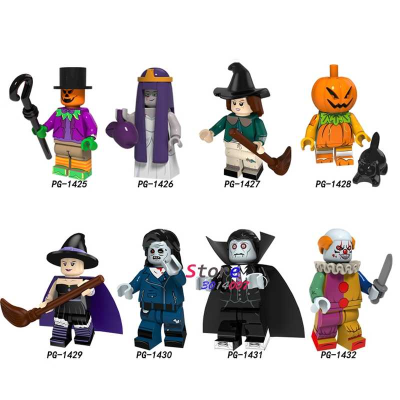 Single Halloween Orang-orangan Sawah Pernikahan Hantu Penyihir Labu Pria Zombie Vampir Badut Horor Tema Bangunan Blok Mainan untuk Anak-anak