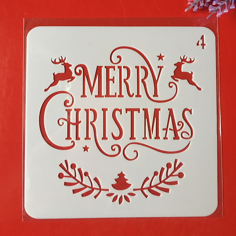 Hot 13cm Merry Christmas DIY Layering Stencils Wall Painting Scrapbook Coloring Embossing Album Decorative Card Template