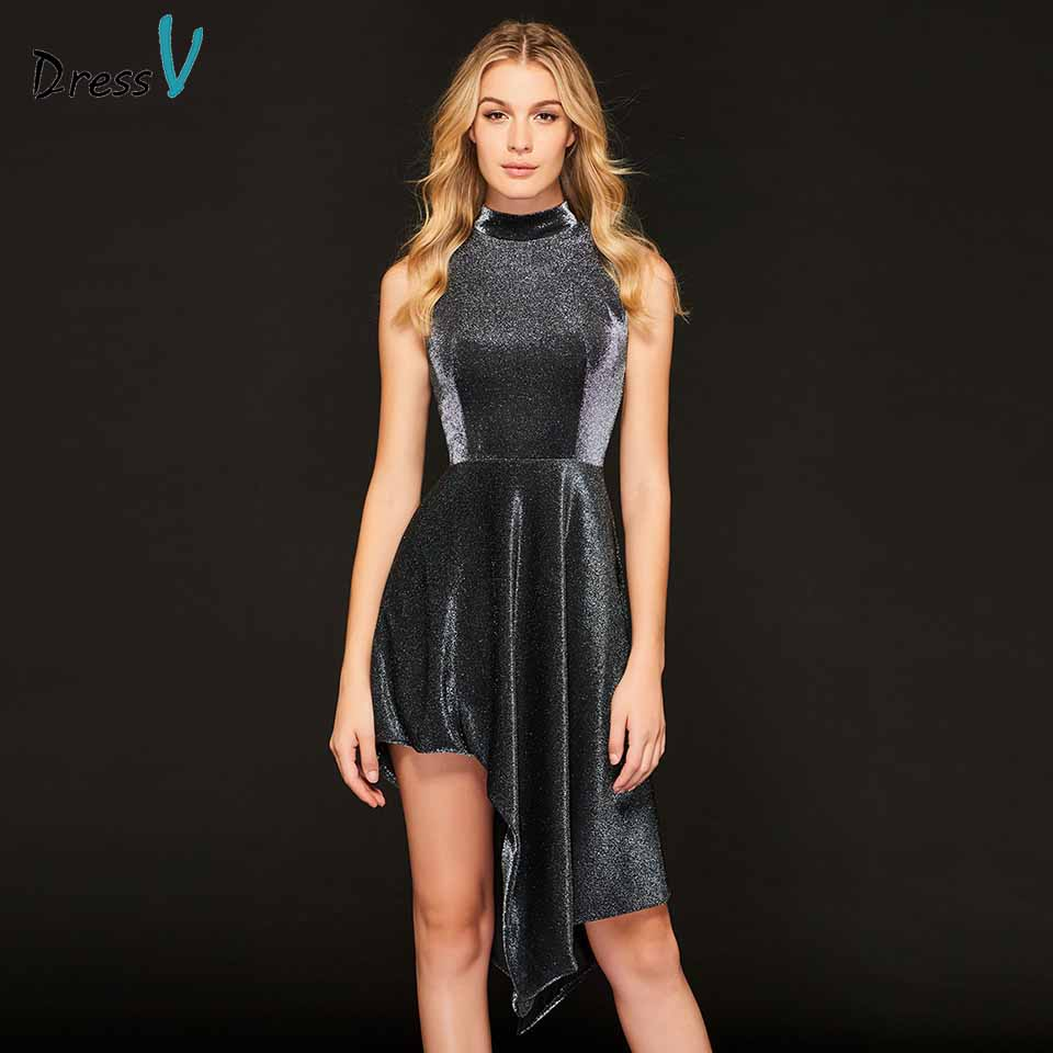 Dressv   cocktail     dress   elegant high neck sleeveless asymmetry zipper up short mini wedding party formal   dress     cocktail     dresses
