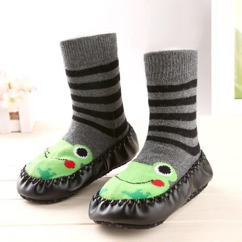 Cat Baby Warm Slip-resistant Faux Leather Floor Walking Socks Kid's Infant Socks Boys Girls Winter Warmer Unisex For Children #3