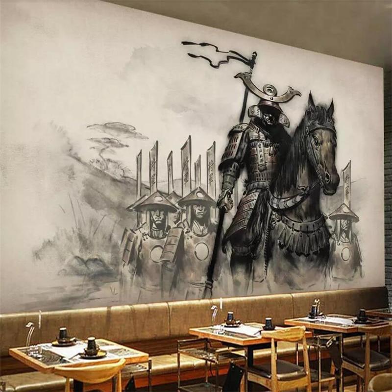beibehang New Chinese retro ukiyoe horse horse samurai restaurant tooling wall custom large mural wallpaper papel de parede