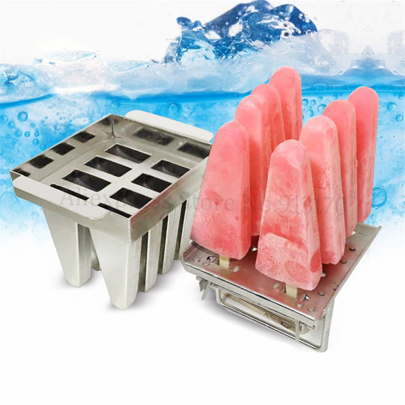 Popsicle Mould 8 Molds/Tray Ice-lolly Mold Durabe Stainless Steel DIY Ice Cream Molds With Stick Holder стоимость