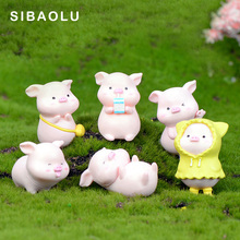 Happy Pink Pig figurine cartoon Animal Model Moss landscape Resin Craft home decor miniature fairy garden decoration accessories