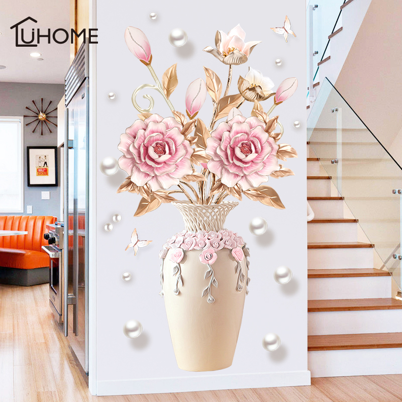 Creative Peony Flowers Vase Wall Sticker For Living Room Bedroom Decal 3D Wall Stickers Removable Wall Decoration Painting Decor