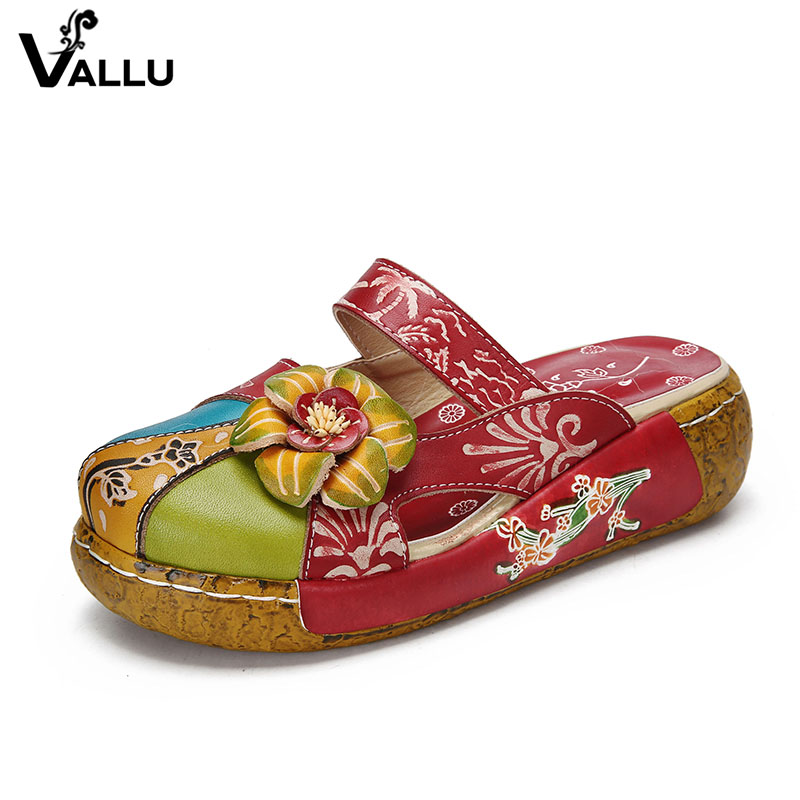 2018 VALLU Summer Women Slipper Shoes Handmade Flower Flat Platform Genuine Leather Ladies Outside Slippers Plus Size 4 Color shoulder cut plus size flower blouse