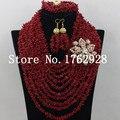 Lujo nigeriano boda africana Coral perlas nupcial la joyería de color rojo Coral perlas de la boda del collar del envío gratis