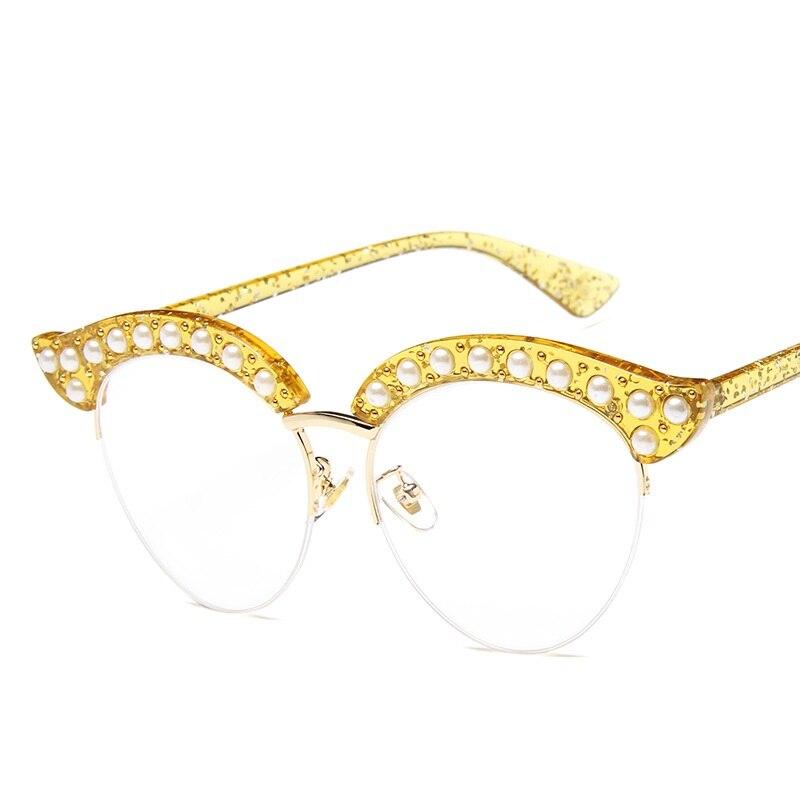 Cubojue ojo de gato perlas mujeres gafas lente transparente gafas de ...