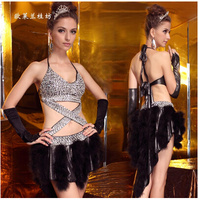 LGF Female dancers costumes Nightclub Bar hollow diamond feather Miniskirt backless clothing dynamic