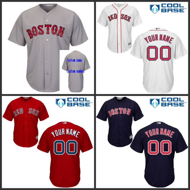 20b16f9f24d ... free shipping youth kids boston red sox custom jersey authentic cool  base personalized white red 9a2c0