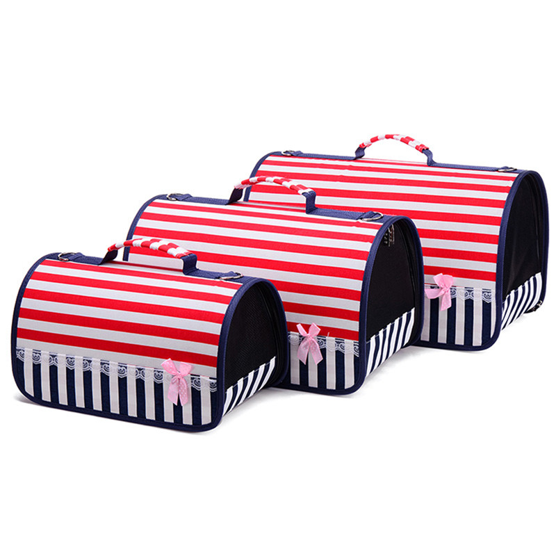 S/M/L Fashionable Breathable Carry-handle Bag Red Striped Single Shoulder Bag for Pet Carrying