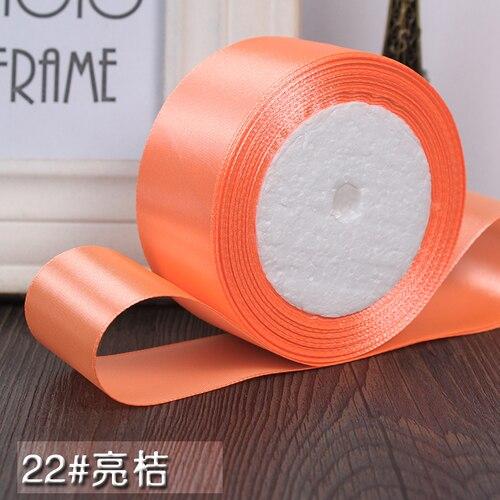 25 ярдов/рулон 6 мм, 10 мм, 15 мм, 20 мм, 25 мм, 40 мм, 50 мм, шелковые атласные ленты для рукоделия, швейная лента ручной работы, материалы для рукоделия, подарочная упаковка - Цвет: Bright orange