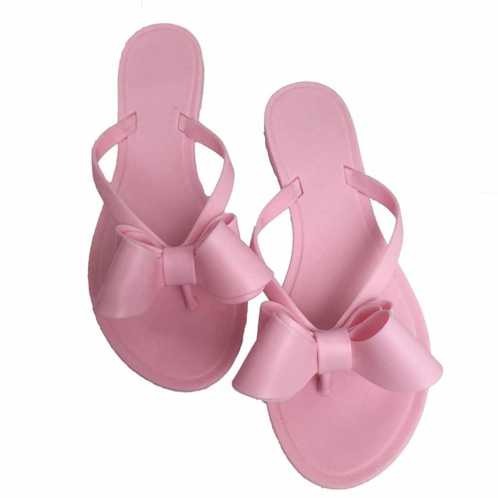 フリップは FWomen のかわいいかわいい弓フラットスリッパの靴女性のフリップフロップ浜の靴弓のスリッパのサンダル Sandalias Mujer 2019