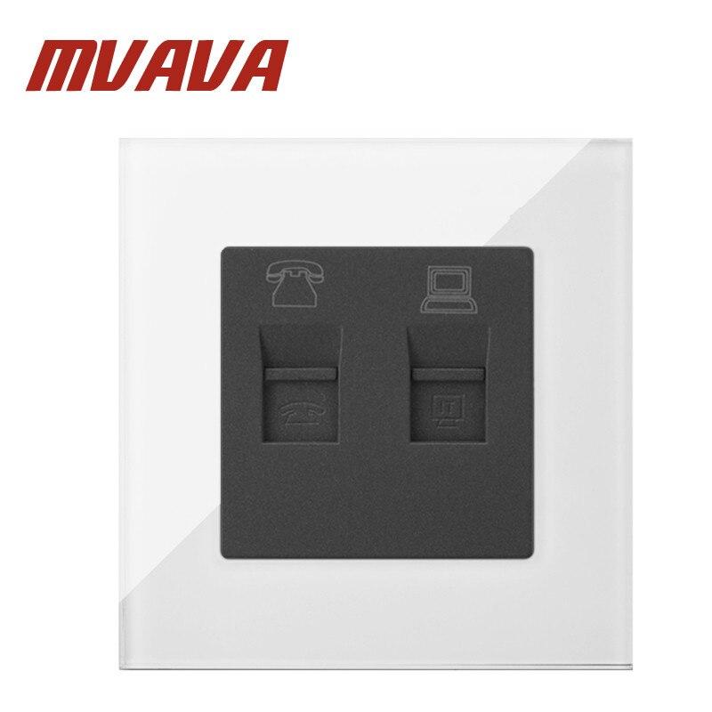 Sokcet MVAVA TEL + Dados Branco Vidro Temperado Computador RJ45 RJ11 Jack Tomada de Telefone Tomada de Parede do Soquete Frete Grátis